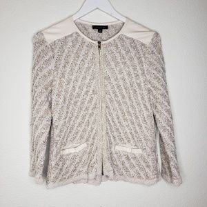 Ann Taylor Woven Zip Up Sweater Jacket